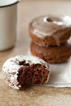 Baked Chocolate Doughnuts These are the ones! I will never lose this recipe again. I may have to memorize it in case the computer is down. Best baked chocolate donuts ever. No Bake Desserts, Just Desserts, Delicious Desserts, Dessert Recipes, Yummy Food, Breakfast Recipes, Delicious Donuts, Baked Donut Recipes, Baked Donuts