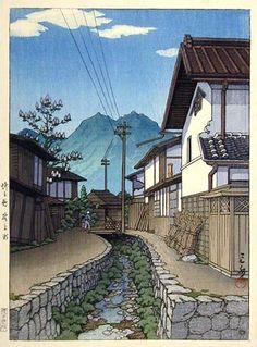 Kawase Hasui (1883-1957): Nogami, Saitama, 1946 CRISP, CLEAN LINES, FRAMING.