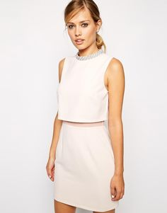 Image 1 of ASOS Embellished Collar Stand Dress