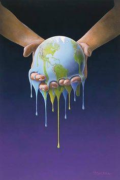 Melting Earth illustration by Bjørn Richter Mother Earth, Illustration, Ancient, Image, Climate Change Art, Surrealism, Art, Environment, Poster
