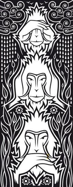 3 wise monkeys (B W) by Jules Mann