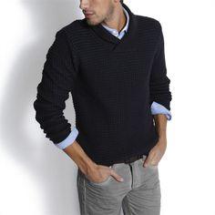 Pull col châle homme Bleu Marine homme – la mode homme sur Jules.com