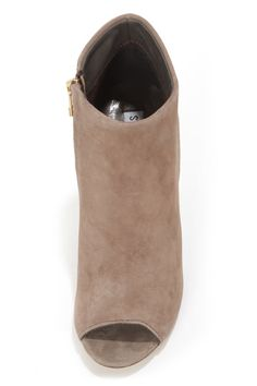58c6d282091 Steve Madden Paulina Taupe Suede Peep Toe Ankle Booties
