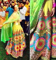 Super colourful and vibrant lehnga! For Mehndi maybe!