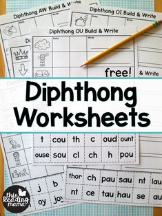 Diphthong Worksheets – Build & Write – This Reading Mama Digraph Worksheets – Build and Write – free from This Reading Mama Digraphs Worksheets, Spelling Worksheets, Spelling Activities, Free Phonics Worksheets, Vowel Digraphs, Reading Worksheets, Teaching Activities, Word Study, Word Work