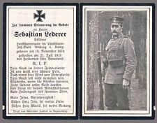 WW1 GERMAN PRO SOLDIER DEATH CARD STERBEBILD - KILLED BELGIUM 1915 - FIELD PHOTO