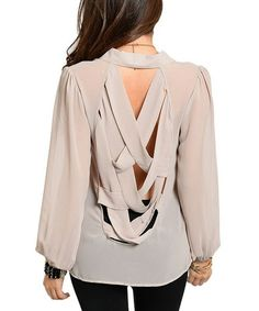 Stone Sheer Long-Sleeve Button-Up