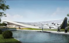JDS architects: beijing green visitor center  -Would love a rooftop garden on the far end, it would really make the building a symbol.
