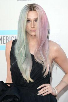 Kesha's multi-colored pastel locks