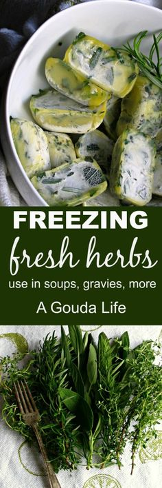 Freezing Fresh Herbs ~ preserve fresh herbs by freezing in olive oil in ice cube trays for fresh herb flavor anytime in soups, stews, roasts and gravies.