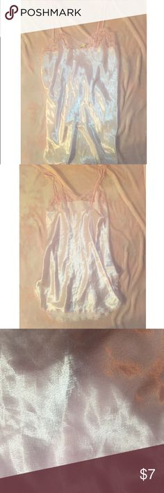 baby pink nightgown satin , baby pink nightgown . very girly and cute and never worn . I absolutely love this but I have many items similar to it . no size on it because I purchased at a vintage shop , but it is 24.5 inches long and has 5 inch straps ♡ Intimates & Sleepwear