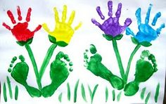Art hand and feet flowers, so CUTE! ideas-for-the-classroom