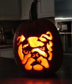 Great idea for carving contest! #bulldogpumpkin #2014