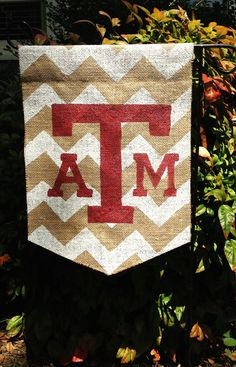 Burlap+Garden+Flag+Texas+A+&+M+Aggies+White+by+ModernRusticGirl,+$20.00. Make it Auburn!!!!