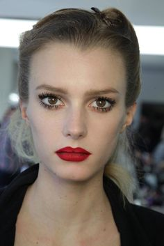 thick #spidery #lashes and #red #lips