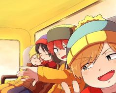 South Park - Kenny, Stan, Kyle And Cartman On The Bus. This is super cute South Park Anime, South Park Funny, South Park Fanart, Neko, South Park Cartman, South Park Characters, Stan Marsh, Creek South Park, Park Art