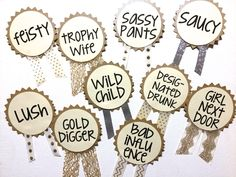 CUSTOM Bachelorette Party Pins, Name Tags, Bachelorette Sash, Bachelorette Party Decorations by LetsWearDresses on Etsy https://www.etsy.com/listing/181210174/custom-bachelorette-party-pins-name-tags