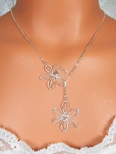 Daisy Necklace Lariat  STERLING SILVER CHAIN by LadyKJewelry, $24.85