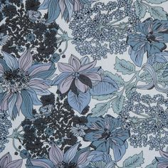 Gray/Blue/Purple Floral Cotton Poplin Fabric by the Yard | Mood Fabrics