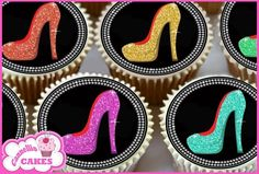 24 x MIXED BLING SHOES EDIBLE CUPCAKE TOPPERS CAKE RICE PAPER 8473