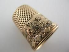 14K Gold THIMBLE w/ engraved buildings & arch w/ diamond pattern border ~size 8