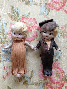 Vintage Bisque Bride and Groom Kewpie Googly Flapper Doll