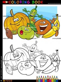 coloring book or page cartoon illustration of funny food characters fruits and vegetables for children education Vegetable Coloring Pages, Fruit Coloring Pages, Coloring Book Pages, Coloring Pages For Kids, Fruits And Vegetables Pictures, Vegetable Pictures, Caricature, Art Room Rules, Fruit Crafts