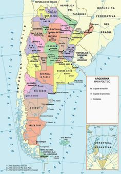 Argentina in the World - Political Map World Political Map, Spain Culture, Map Pictures, Country Maps, Argentina Travel, Historical Maps, Spanish Classroom, Largest Countries, How To Speak Spanish