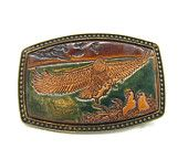 American Bald Eagle Inlaid Tooled Brass Leather Belt Buckle Signed Alumaline 4108 Fathers Day Gift Idea Western Wear Vintage 1970s