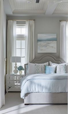 Beautiful Bedroom. Nice neutral colors. Love the long drapes!