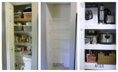 Cover up those cheap-looking wire shelves in a pantry or closet. | 42 Ingeniously Easy Ways To Hide The Ugly Stuff In Your Home