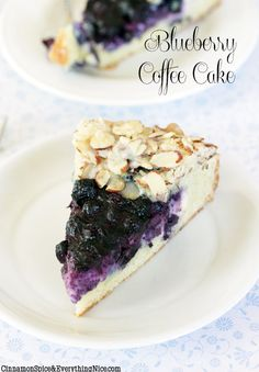 Blueberry Cream Cheese Coffee Cake Recipe ~ Sweet cheesecake and blueberries sit atop a buttery cake rimmed with a crunchy almond border.