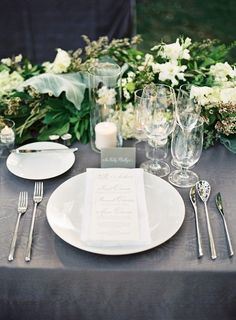 elegant greenery and grey wedding table setting ideas