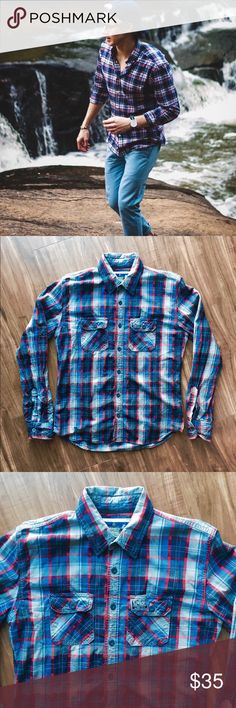 • SUPERDRY plaid shirt • Top quality plaid shirt by SUPERDRY. In excellent condition. SUPERDRY's clothes run pretty snug fitting so this feels more like a XL than a XXL. Superdry Shirts Casual Button Down Shirts
