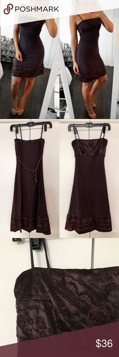 Brown, embroidered fitted Midi Dress 🌟 Stunning, brand new with tags. I'm a size S and it fits perfectly. I am 5 feet seven. Made of 90% Polyamide and 10% Elastane. It measures approximately 32 inches from top bra area to bottom and 24 inches around bust but it also stretches. London Girl Dresses Midi