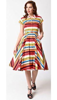 Unique Vintage 1950s Style Multicolor Stripe Short Sleeve Del Rey Shirtdress