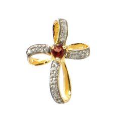 Garnet Cross Pendant • Two-Tone Gold-Plated Sterling Silver Cross Pendant with Garnet • Ribbon Design Cross • Lovely Sparkle! by EncoreJewelryandGems on Etsy