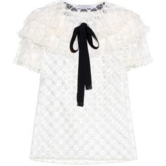 Philosophy Di Lorenzo Serafini Ruffled Lace Top (18,720 DOP) ❤ liked on Polyvore featuring tops, white, flutter-sleeve tops, philosophy di lorenzo serafini, frilly tops, white tops and frill top