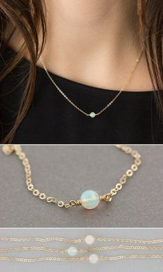 Delicate Opal Necklace: a Natural, Genuine Opal is suspended on dainty chain. A timeless, classic in 14k Gold Filled, Sterling Silver or Rose Gold