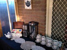 Tea and coffee station.