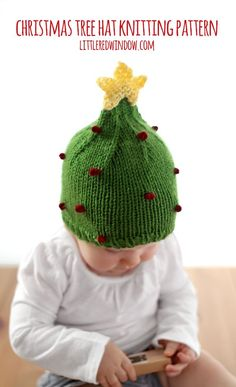 Knit a cute Christmas Tree hat with this free knitting pattern! Baby Hat Knitting Pattern, Baby Hats Knitting, Knitting For Kids, Knitting Patterns Free, Free Knitting, Knitting Projects, Crochet Projects, Knitted Hats, Crochet Patterns