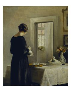 An Interior with a Woman at a Table Giclee Print by Carl Holsoe at Art.com