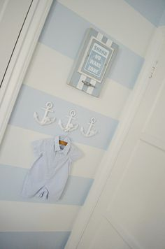 Project Nursery - Blue and White Striped Baby Nursery Wall