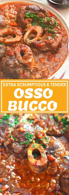 This classic Italian braised veal shanks Osso Bucco is real comfort food with fork-tender meat bathed in a luxurious and flavorful tomato red wine sauce. Slow Cooker Beef, Slow Cooker Recipes, Cooking Recipes, Oso Bucco Recipe, Osso Bucco Beef, Veal Recipes, Dinner Recipes, Recipes, One Pot Meals