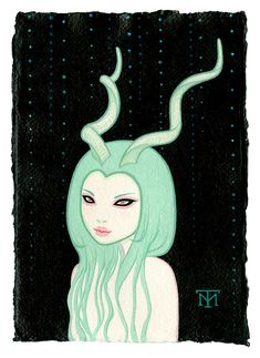 Tara  McPherson -  <strong>Deer Girl</strong> (2013<strong style = 'color:#E45922'></strong>)<bR /> acrylic on watercolor paper,   8.3 x 5.8 inches  (21.08 x 14.73 cm)  20.63 x 18.25 inches, framed