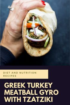 Minute Greek Turkey Meatball Gyros topped with a classic Tzatziki Sauce you'll want to swim in! These Gyros are the perfect healthy dinner option for the family and clock in 429 calories! Greek Dishes, Main Dishes, Ground Turkey Meatballs, Best Sandwich Recipes, Greek Turkey, Healthy Dinner Options, Tzatziki Sauce, Mediterranean Diet Recipes, Diet And Nutrition