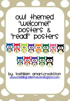 "FREEBIE: ""Welcome"" and ""Read"" for the owl themed classroom."