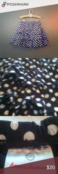 Cute polka dot skirt!!! <3 :) Cute navy blue and white ruffled polka dot skirt with short built in!!! <3 :) Hanna Andersson Skirts