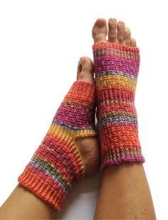 Toeless Yoga Socks Hand Knit in Rainbow Stripes Pedicure Pilates Dance. $35.00, via Etsy.