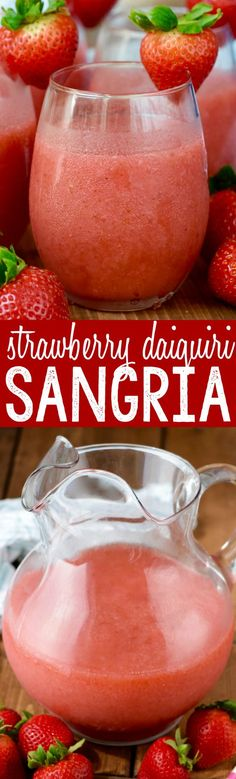 This Strawberry Daiquiri Sangria is super easy to make, no crazy ingredients, and is awesome for a party! You just might want to triple it, because it will go FAST! Party Drinks Alcohol, Drinks Alcohol Recipes, Fun Cocktails, Cocktail Drinks, Fun Drinks, Beverages, Mixed Drinks, Tequila Drinks, Drink Recipes